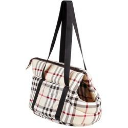 Бобровый дворик Переноска с отверстием для головы для собак Шотландка светлая