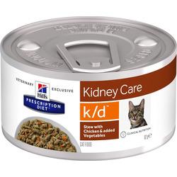 HILL'S Prescription Diet Kidney Care k/d Chicken + Vegetables Cat диетические консервы для кошек при заболевании почек рагу из курицы с овощами