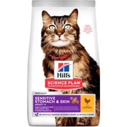 Сухой корм HILL'S Science Plan Sensitive Stomach & Skin для взрослых кошек с чувствительным пищеварением и кожей, с курицей