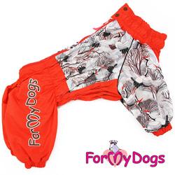 ForMyDogs Комбинезон для больших собак Аисты оранжевый на девочку