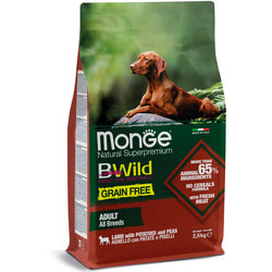 Сухой корм Monge Dog BWild Dog GRAIN FREE беззерновой корм из мяса ягненка с картофелем и горохом для взрослых собак всех пород