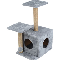 Smartpet Домик для кошек Серый с двумя входами и двумя когтеточками