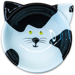 КерамикАрт Миска керамическая для кошек Мордочка кошки черно - белая