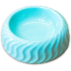 КерамикАрт Миска керамическая для животных с волнами бирюзовая