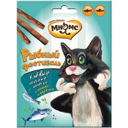 Мнямс Рыбный фестиваль Лакомые палочки для кошек (лосось, форель)