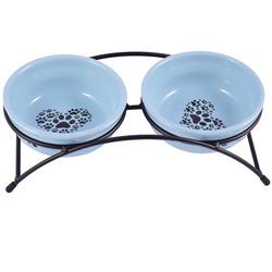 КерамикАрт Миски керамические на подставке для собак и кошек двойные синие