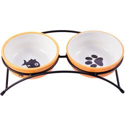 КерамикАрт Миски керамические на подставке для собак и кошек двойные оранжевые