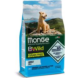 Сухой корм Monge BWild Dog GRAIN FREE Mini беззерновой корм из анчоуса с картофелем и горохом для взрослых собак мелких пород