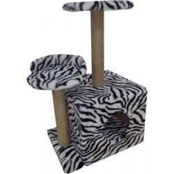 Smartpet Домик для кошек с двумя входами, когтеточками и полочками Зебра