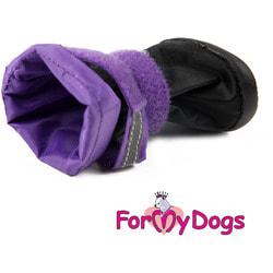 ForMyDogs Сапоги для крупных собак на резиновой подошве Фиолетовые с высоким чулком
