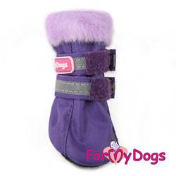 ForMyDogs Сапоги для собак на меху Фиолетовые, подошва ПВХ