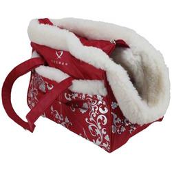DOGMAN Сумка - переноска теплая с мехом №5М, красная, 36х19х26см