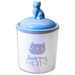 КерамикАрт Бокс керамический для хранения корма Hug your cat бело-серый
