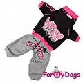 ForMyDogs Костюм для собак Street Art черно-серый с принтом