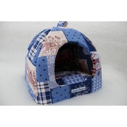"""Бобровый дворик Домик для собак и кошек """"Сладкий сон Пэчворк зима синий"""""""