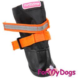 ForMyDogs Сапоги на подошве Черно-оранжевые с флисом и усиленным мысом