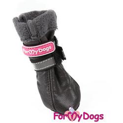 ForMyDogs Сапоги зимние серые на меху для собак