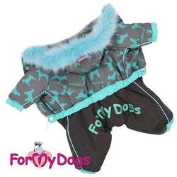 ForMyDogs Комбинезон теплый на мальчика Собачки серо-голубой с капюшоном