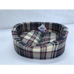 Бобровый дворик Лежак овальный с бортиком для собак и кошек Шотландка серо-голубая