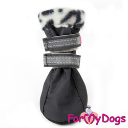ForMyDogs Сапоги для собак на флисе Лео серые, на подошве ПВХ