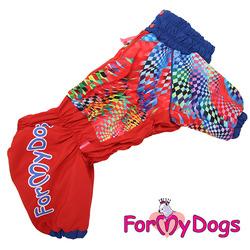 ForMyDogs Комбинезон для крупных собак Калейдоскоп красный на девочку