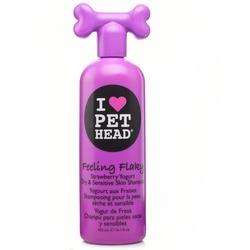Pet Head Feeling Flaky - Увлажняющий шампунь (Клубнично-йогуртовый шампунь для сухой и чувствительной кожи собак с юккой, ромашкой и шелком, без сульфатов и парабенов)