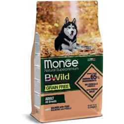 Сухой корм Monge BWild Dog GRAIN FREE беззерновой корм из лосося и гороха для взрослых собак всех пород