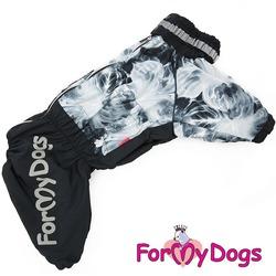 """ForMyDogs Дождевик на крупные породы собак """"Дым"""" черно-серый, мальчик"""