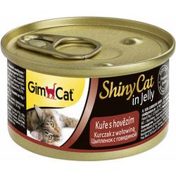 Консервы GimCat ShinyCat для кошек из цыпленка с говядиной в желе