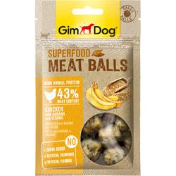 GimDog Дополнительный корм (лакомство) из курицы с бананом и кунжутом для собак - мясные шарики суперфуд