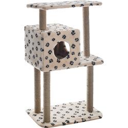 Smartpet Домик когтеточка для кошек с квадратным домиком и верхней полкой Бежевый с лапками