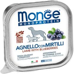 Консервы Monge Dog Monoprotein Fruits для собак паштет из ягненка с черникой