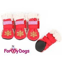 ForMyDogs Сапоги зимние для собак Снежинка красные