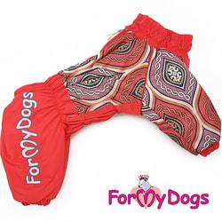 ForMyDogs Теплый комбинезон на крупные породы собак Орнамент оранжевый на девочку
