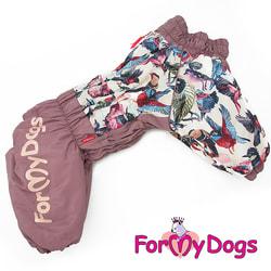 ForMyDogs Теплый комбинезон для больших собак Птички лиловый, на девочку