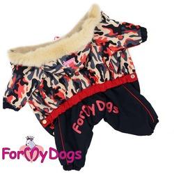 ForMyDogs Комбинезон теплый на девочку Хаки черно-красный с капюшоном
