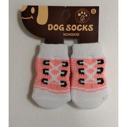 Антицарапки Носки для собак Шнуровка бело-розовые