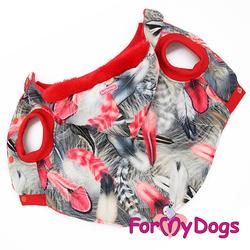 ForMyDogs Куртка для больших собак Перышки со съемным капюшоном