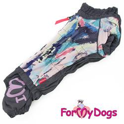 ForMyDogs Теплый комбинезон для такс Серо-фиолетовый на девочку