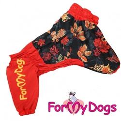 ForMyDogs Дождевик для крупных собак Листья черно/красный девочка