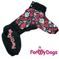 ForMyDogs Дождевик для крупных собак Черно/красный девочка