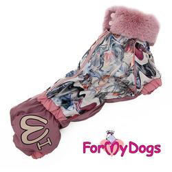 ForMyDogs Комбинезон зимний для таксы, цвет розовый, девочка