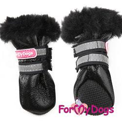 ForMyDogs Сапоги для собак зимние черные на меху, цельнокроенный чулок без швов