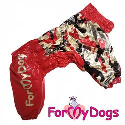 ForMyDogs Дождевик для крупных собак Камуфляж красный металл на девочку