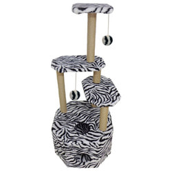 Smartpet Домик когтеточка для кошек с большим домиком, 4 яруса, Зебра
