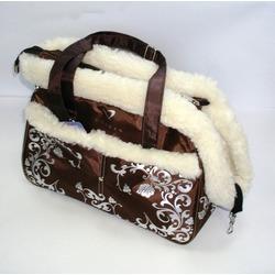 DOGMAN Сумка - переноска теплая с мехом №5М, коричневая, 36х19х26см