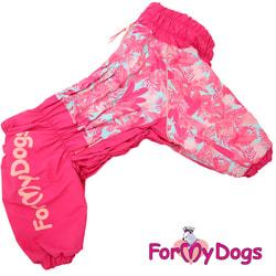 ForMyDogs Комбинезон для больших собак Листья розовый, на девочку
