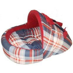 Бобровый дворик Лежак для собак и кошек Тапочек Шотландка синяя