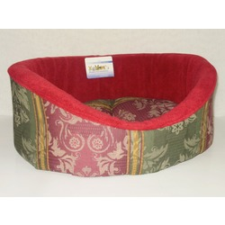 Бобровый дворик Лежак овальный с бортиком для собак и кошек поларфлис бордо