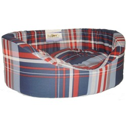 Бобровый дворик Лежак овальный с бортиком для собак и кошек Шотландка синяя